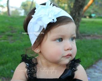 Baby headband, white flower headband, baby girl headband, girl headband, headwrap, flower headband, newborn girl headband, cotton headband