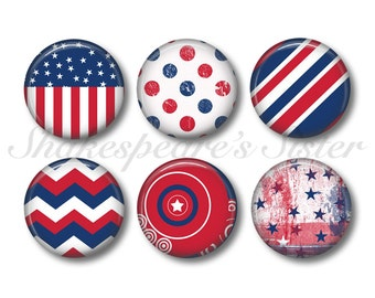 Americana Decor - Fridge Magnets - American Flag - 6 Magnets - 1.5 Inch Magnets - Patriotic Magnets