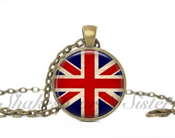 Union Jack -  British Flag - Art Pendant - Union Jack Jewelry - Pendant Necklace