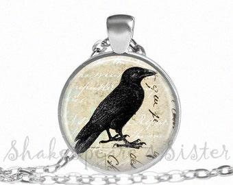 Crow Necklace - Raven Jewelry - Black Crow Necklace - Art Pendant - Black Raven Necklace