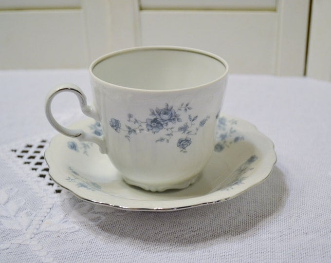 Vintage Haviland Blue Garland Cup and Saucer Bavaria White Blue Floral Replacement Bridal Baby Shower PanchosPorch
