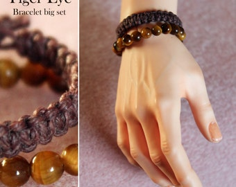 Big Tiger Eye Bracelet set for BJD