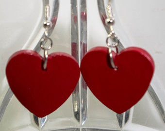 Hand Painted Wooden Heart Earrings (multiple color choices)