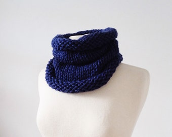 Chunky Knit Scarf, Cowl, Snood, Blue, Reversible
