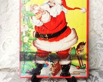 SANTA Whitman Frame-Tray-Inlay PUZZLE-Christmas Themed Jigsaw Puzzle-Santa Clause-Toys Under Tree- by Eileen Fox Vaughan- Old Picture Puzzle