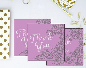 Elegant Favor Tags - Purple Thank You Tags - Wedding Shower Thank You Tags - Bridal Shower Favor Tags - Purple Favor Tags - Thank You Cards