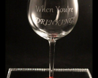 Christmas glitter wine glass, etched glass, secret santa gift