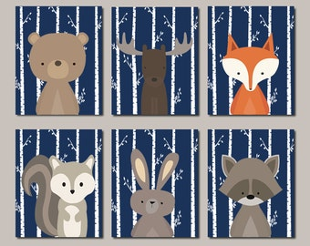 Boy Nursery Art WOODLAND Nursery Art Woodland Printable Woodland Animals Nursery Decor Woodland Baby Shower Navy Set Of 6 Prints Or Canvas