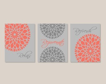 Modern Floral Flower Flourish Coral Gray Artwork Set of Prints Or Canvas Relax Rejuvenate Refresh Wall Art Decor Bathroom Bath Home Picture