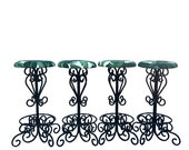 Vintage Wrought Iron Counter Stools, Set of 4