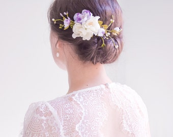 Purple wedding hair clip, Bridal headpiece, Purple flower hair clip, Bridal hair vine - VIOLETTE