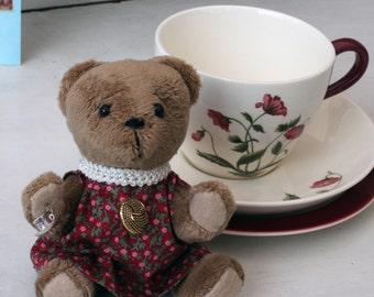 Small teddy bear, handmade, Wedgwood teacup and saucer, made in England, handmade teddy bear, mothers day gift