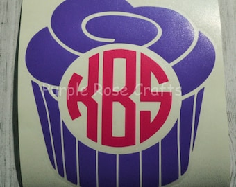 Monogram Cupcake Car Decal,Car Sticker