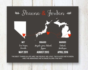 Personalized met engaged married 1st anniversary gift map - Custom wedding gift for her wife sister daughter - DIGITAL FILE!