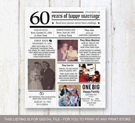 anniversary gift for wife husband or best friends60th anniversary ...
