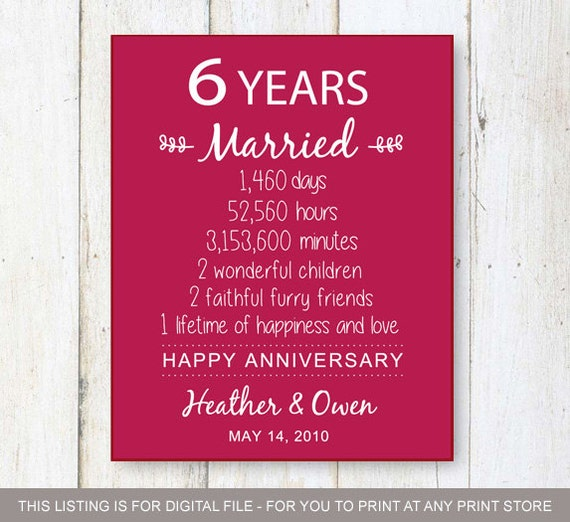 6 Year Wedding Gift : Gift - six years of Wedding Anniversary - Personalized 6th Wedding ...