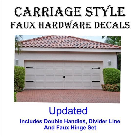 Carriage house style garage door faux hardware vinyl decal kit for Garage en kit pvc