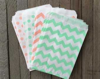 48 Peach and Mint  Favor Bag--Chevron Favor Sack--Polka Dot  Candy Favor Bag-- Goodie Bag--Party Sack--Birthday Treat Sacks