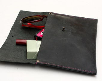 Stormy Black Horween American Leather Hand Stitched Asymmetrical Clutch Purse, Moyamensing, Leather Minimalist Purse