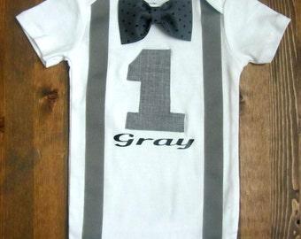 Boy First Birthday Shirt  - Boys First Birthday Outfit - First Birthday Boy Outfit - Boy 1st Birthday Outfit - Bow Tie Suspenders Birthday