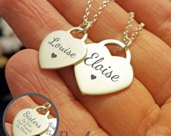 Sister Necklace - Silver Engraved Sisters Necklace Heart Pendant Personalised