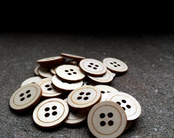 Sale - 30 Veneer wood buttons - 1 Inch, Small natural wood, die cut pieces, craft supplies, embellishments, rustic scrapbooking supplies.