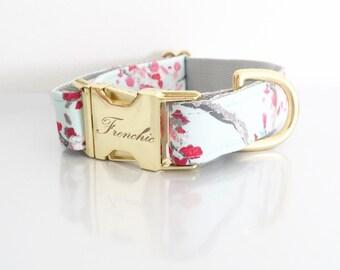 "Adjustable dog collar ""Enchanted leaves"""