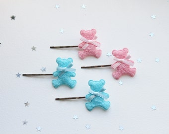 Teddy bear hair pins pink or blue kawaii pin baby pastel pink white bow tie collar clips pins pastel goth