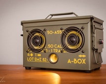 The Original Ammo Can BoomBox Bluetooth Speakers THODIO A-BOX™ .50 CAL Wifi Guitar Amp Usb 40 hour battery