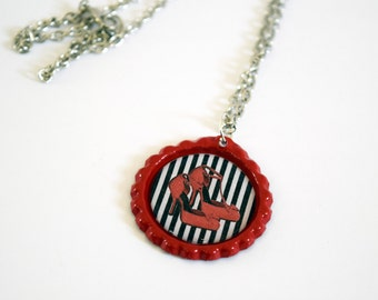 Super Cute Retro Red Bottle Cap Necklace with Red Shoes