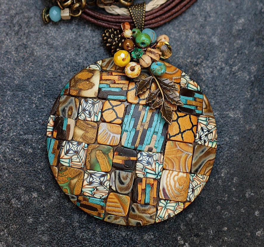 Jewelry Pendant Made Of Polymer Clay Mosaic Pendant