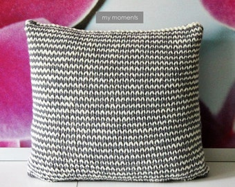 Chunky Pillow / Cushion, Wool/Alpaka, natural/grey