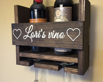 Personalized Wine Rack | Engraved Carved | Custom Rustic 3 Bottle Wall Mount | Wine Rack with 2 Glass Slot Holder