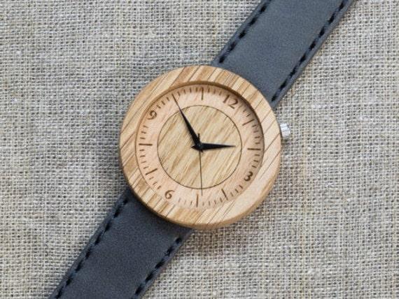 Far Eastern Oak DESIGNER wood watch, Best minimal Watch,  Gray Genuine Leather strap + Any Engraving / Gift Box. Anniversary  gift