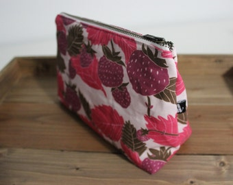 Wild Strawberries Woodland Handmade Cosmetic Toiletry Bag