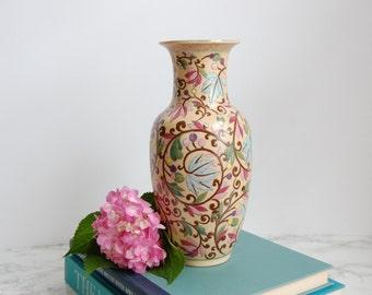 Vintage Macau Porcelain Vase - Vintage Chinese Porcelain Vase with Raised Relief - Chinoiserie Decor