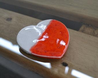 Red Ceramic Porcelain Heart Brooch