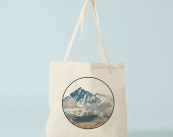 Mountains tote bag, photo, graphic canvas bag, gift for husband, gift for boyfriend, novelty gift for coworker.