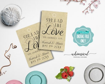 """Spread the Love Jam Favor Tag """"Fancy"""" (Printable File Only) Jam Jelly Wedding Favor Tags; Printable Wedding Tags; DIY Wedding Tags"""