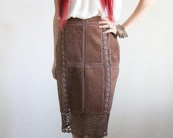 Leather Panel Crochet Skirt