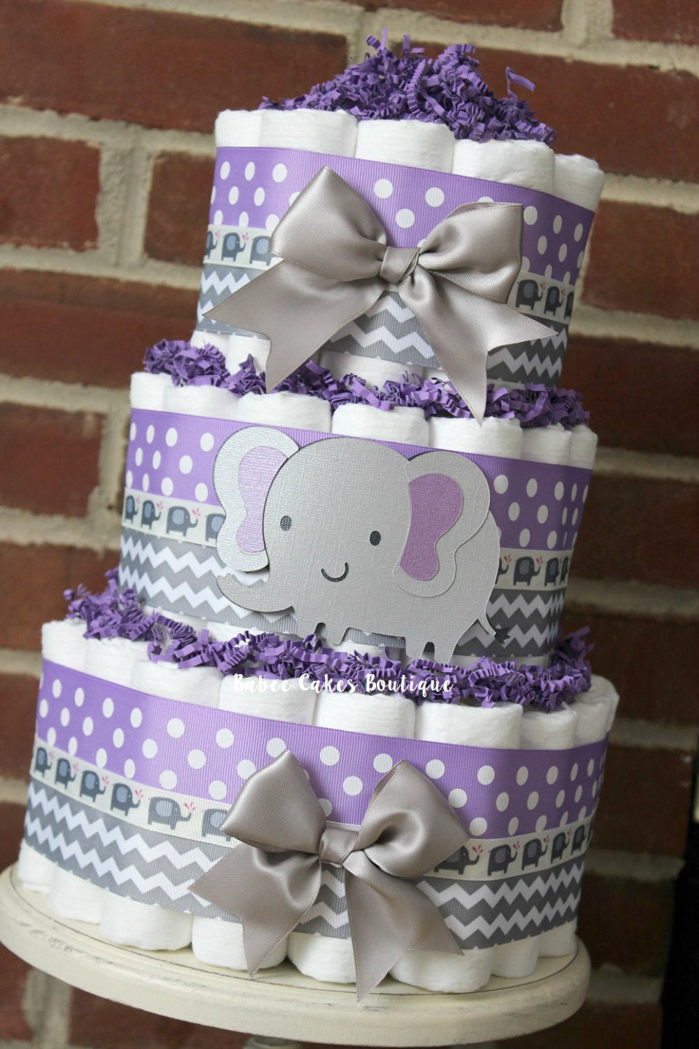 3 Tier Purple And Gray Elephant Diaper Cake Purple Gray