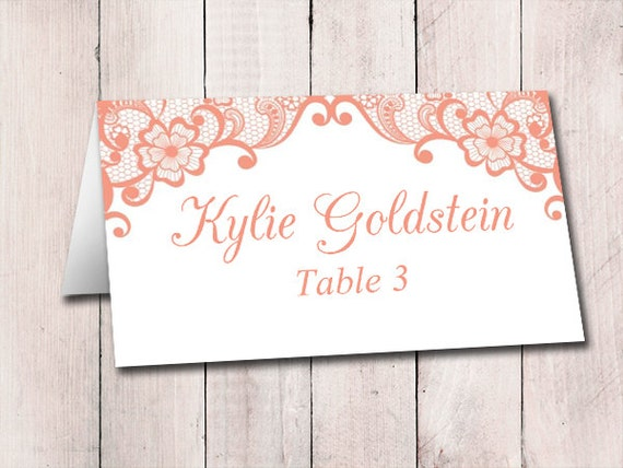 lace wedding place card template fold over escort card. Black Bedroom Furniture Sets. Home Design Ideas