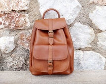 Small Backpack/Oiled Brown Tobacco Color/Twininas Full Grain Leather/Unisex Greek Small Size Backpack Bag