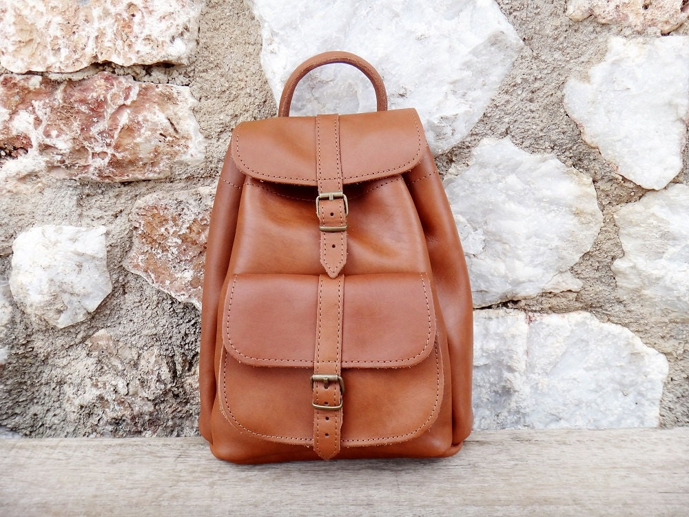 Tan leather backpack | Etsy