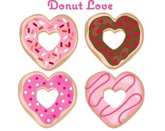 Valentine Clip Art - Heart Donuts- Valentine's Donuts -Donut Clip Art