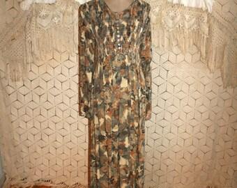 90s Dress Floral Grunge Dress Long Sleeve Hippie Boho Maxi Dress Long Dress Rayon Floral Dress Medium Boho Clothing Womens Vintage Clothing