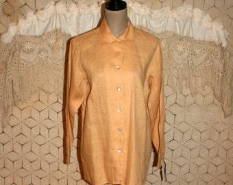 Linen Shirt Women Long Sleeve Blouse Button Up Tunic Top Beige Peach Cantaloupe Ruff Hewn Small Medium Vintage Clothing Womens Clothing