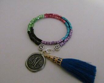 Boho bracelet, tassel bracelet, friendship bracelet, monogram  bracelet,multi color bracelet, wrap bracelet, beaded bracelet