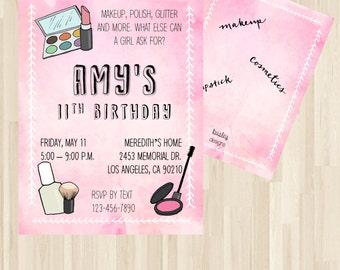Makeup Birthday Invitation, Dress Up Party Invitation,  Makeup Invitation, Make-over Invite,  Makeup Spa Theme, Spa Sleepover Party