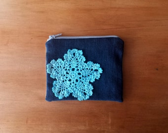 Coin Purse (Light Blue Doily) secondhand black denim floral sheet retro flower pattern fabric pouch snowflake